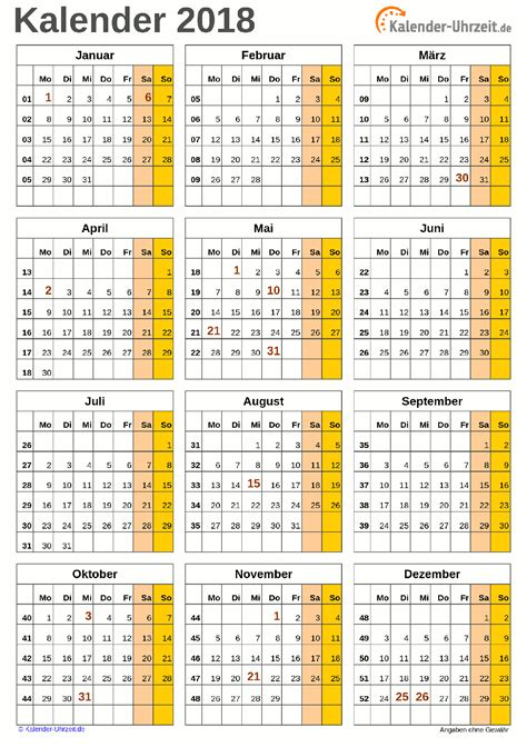 Kalender 2018 A4 Format Excel Kalender 2018 Kostenlos