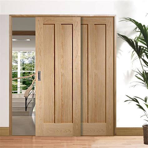 sliding doors easi slide op3 oak novara 2 panel flush sliding door