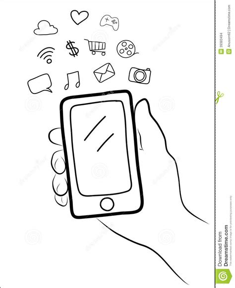 draw mobile holding a smart phone stock vector image 39383494