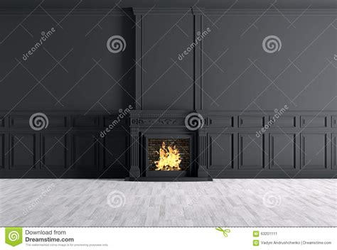 empty classic interior   room  fireplace  black
