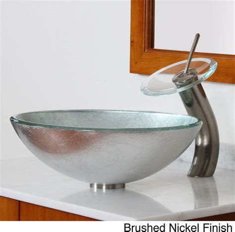 Silver Glass Vessel Sink by Elite Modern Tempered Glass Bathroom Vessel Sink With