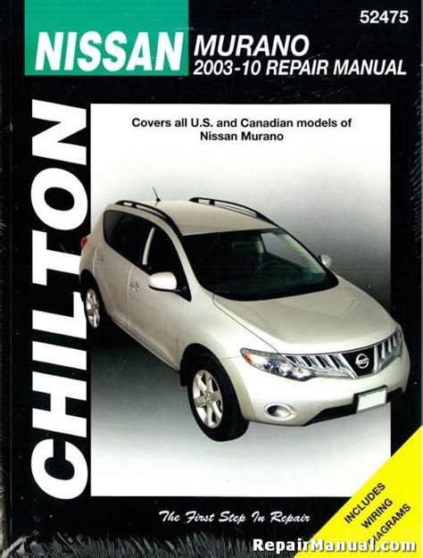 nissan murano repair manual 2003 2011 nissan murano 2003 2010 suv repair service manual chilton