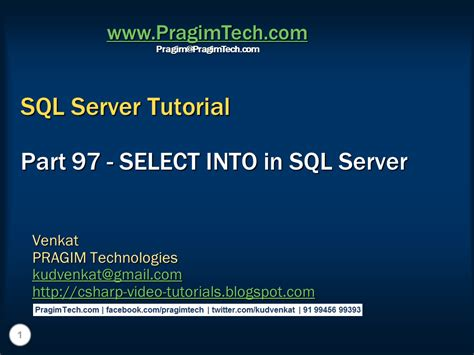 tutorial select sql server sql server net and c video tutorial select into in sql