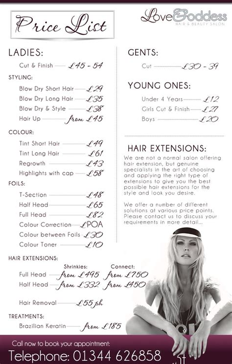 hair salon price list template free salon price list flyer