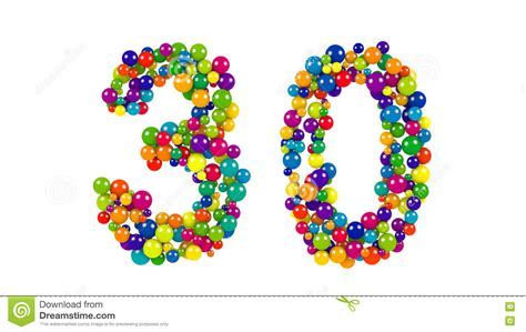 rainbow decorative balls number 30 formed of decorative rainbow balls stock