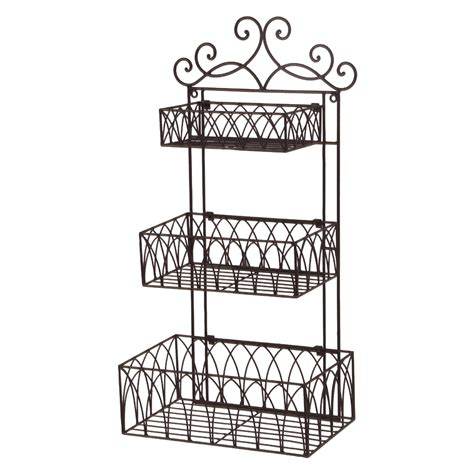 Tuscan Wrought Iron Metal 3 Tier Wall Shelf Or Wall Wrought Iron Bathroom Shelves