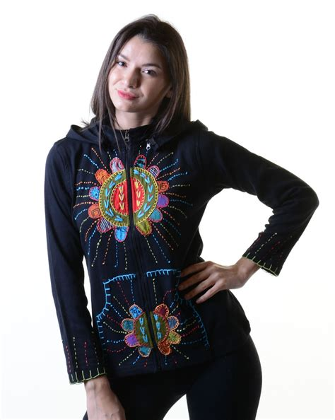 Patchwork Hippie - colorful patchwork hippie sweat jacket with detachable