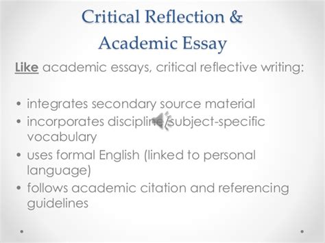 Critical Reflection Essay Sles critical reflective writing