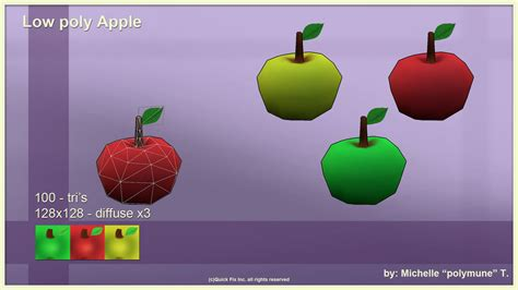 Poly Apple low poly apple by polymune on deviantart
