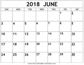 2018 Calendar For June Printable 2018 June Calendar
