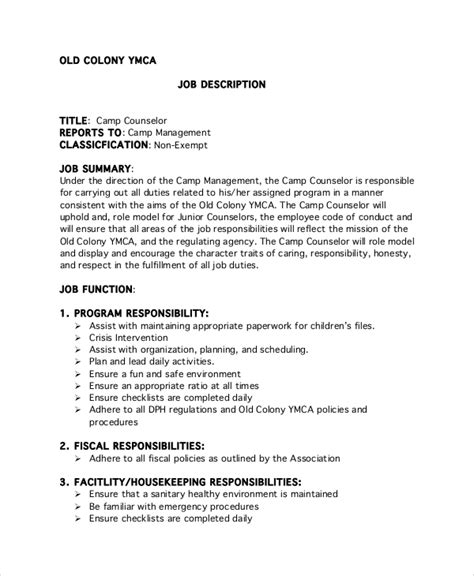 camp counselor job description for resume sales counselor lewesmr