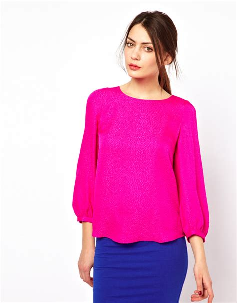 Fuschia Top lyst see by chlo 233 silk shell top in pink