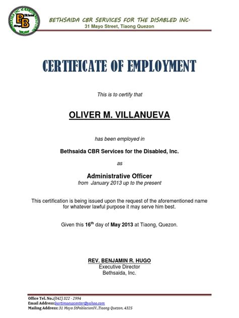 certificate of current employment sample fresh certificate of