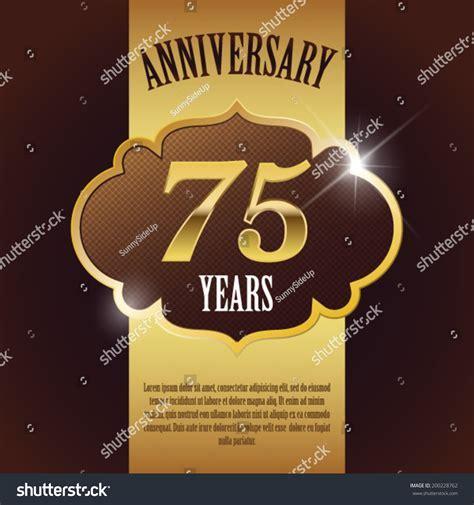 75 Year Anniversary Elegant Golden Design Stock Vector