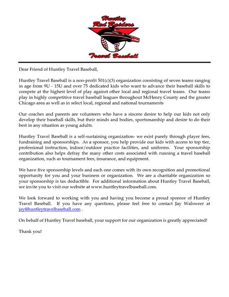 Sponsorship Letter For Youth Conference sponsorship letter template for sports team 28 images