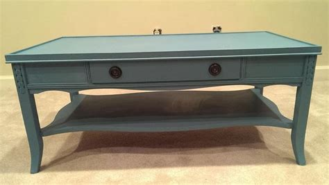 Vintage Blue Chalk Painted Coffee Table Coffee Tables Paint A Coffee Table