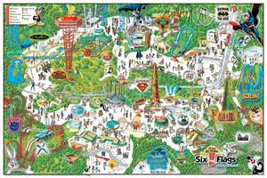 six flags magic mountain theme park map california and