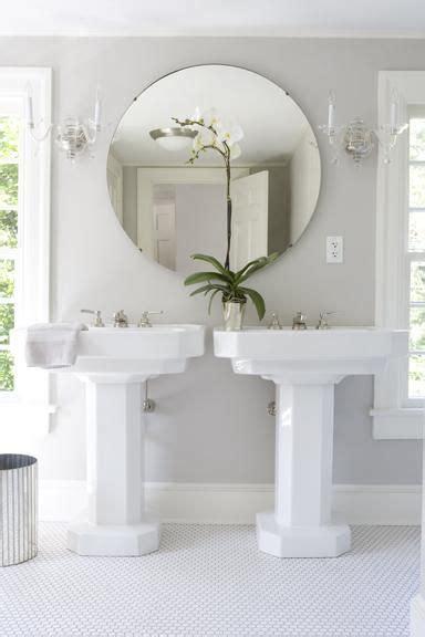 large round bathroom mirror bathrooms gray bathroom double white pedestal sinks