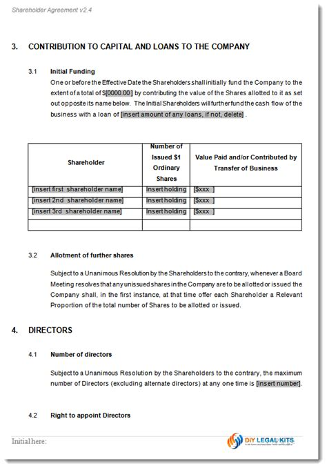 shareholder agreement template shareholders agreement contract form