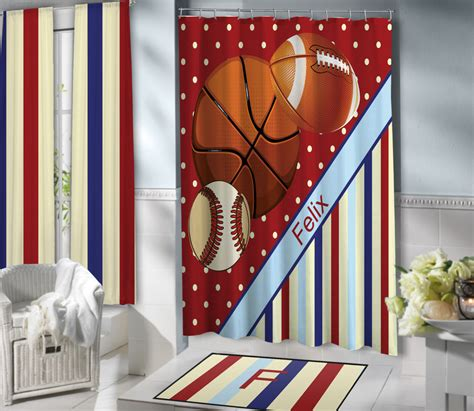 sport curtains red sports shower curtains for kids basketball football