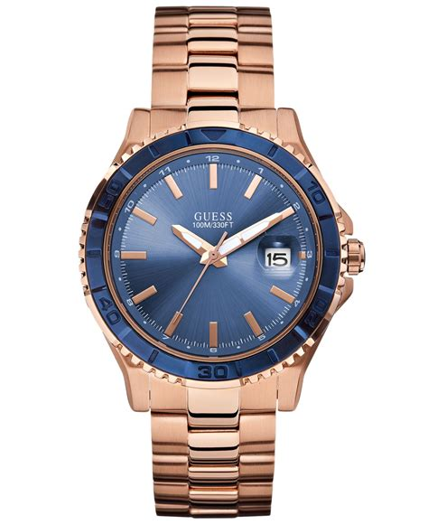 Guess W0149l5 Rosegold Blue guess s gold tone stainless steel bracelet