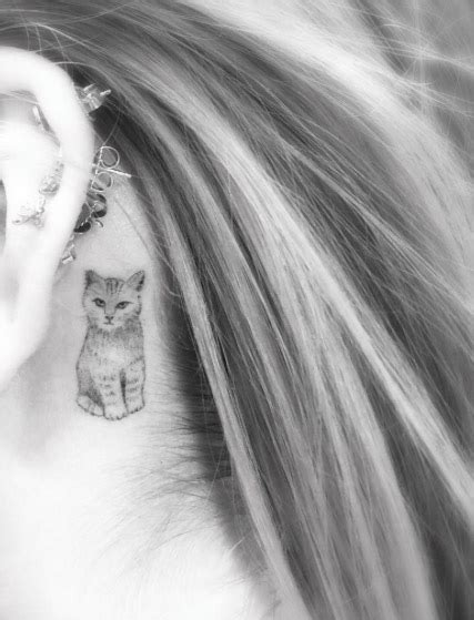 cat tattoo behind ear 40 amazing behind the ear tattoos for women tattooblend