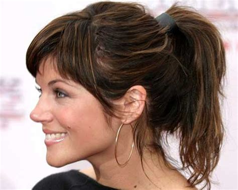hair in pony tail with bangs 15 long ponytail with bangs hairstyles haircuts 2016