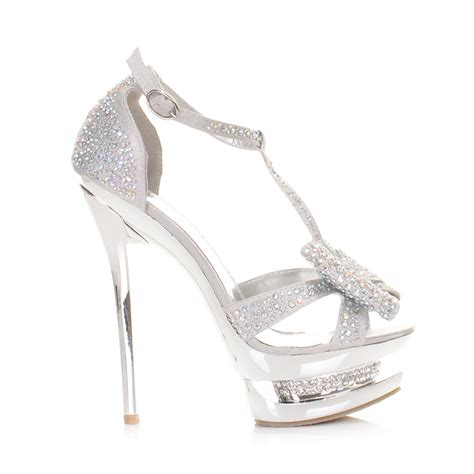 silver high heel shoes for prom womens high heel platform stiletto diamante silver bow