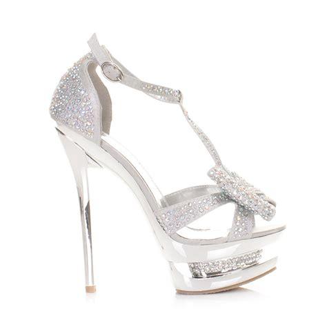 silver prom shoes high heels womens high heel platform stiletto diamante silver bow
