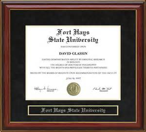 fort hays state university fhsu mahogany diploma frame