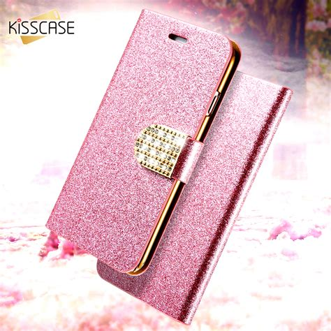 Casing Hp Iphone 6 6s Bling Glitter Cover kisscase luxury bling flip for iphone 6 6s 7 plus glitter leather bags wallet stand