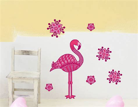 pink wall stickers pink flamingo and flowers wall sticker set contemporary wall stickers