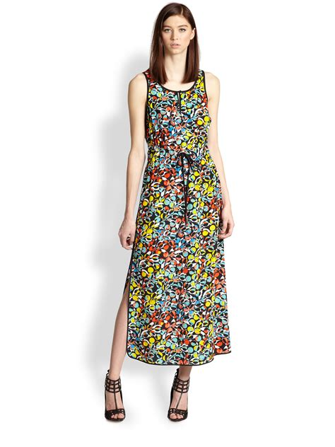 maxi dress cantik jacob marc by marc silk floralprint maxi dress lyst
