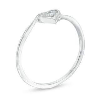accent bypass promise ring in 10k white gold