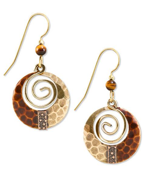 silver forest earrings gold tone hammered loop drop