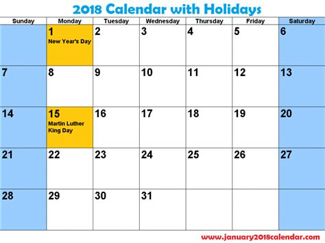 printable calendar january 2018 with holidays january 2018 printable calendar template printable