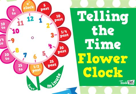 flower clock template telling the time flower clock printable classroom