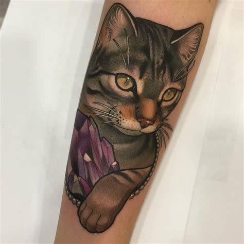 neo trad cat tattoo 16 majestic cat tattoos for cat lovers