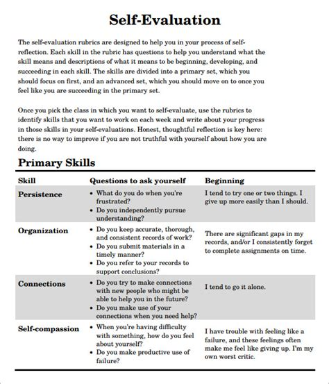 Self Evaluation Letter Template Self Evaluation 7 Free Documents In Pdf