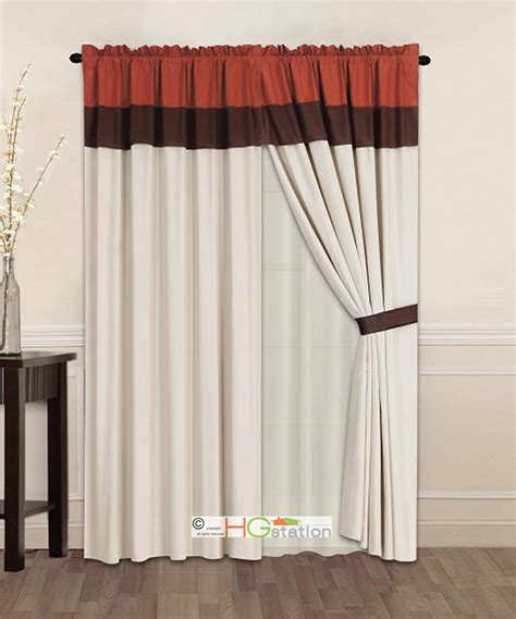 brown orange curtains 4p striped solid curtain set rust orange brown beige
