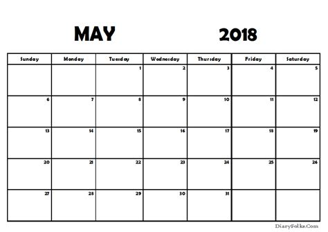 printable calendar blank 2018 may 2018 blank calendar printable