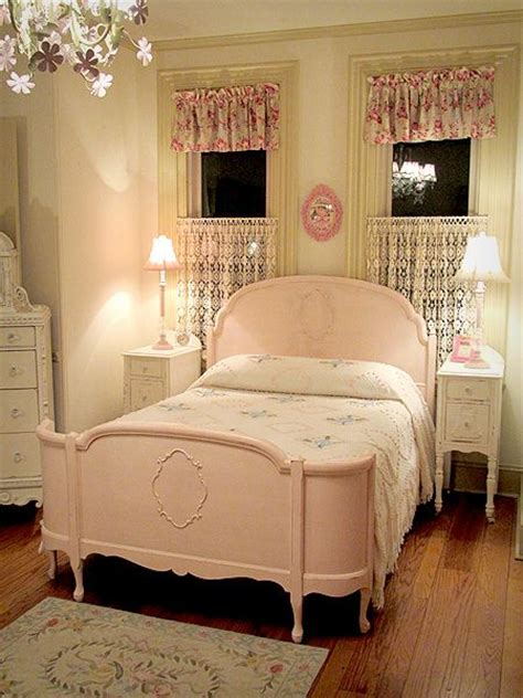 retro girls bedroom pink vintage room with full size bed mildly distressed