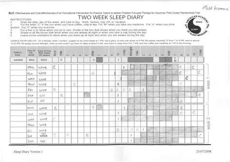 sleep diary template sleep diary pdf images