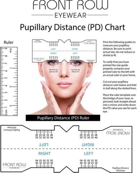 pupillary distance guide and a pd ruler front row eyewear