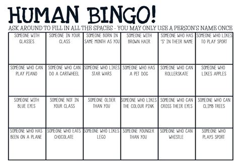 get to you bingo card template printable pdf human bingo breaker by