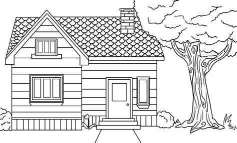 A House Coloring Page by Learn Free Worksheets For Kid ภาพระบายส ร ป บ าน