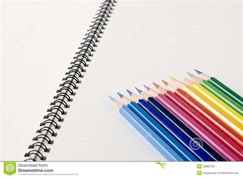 sketch book with pencil sketchbook and colored pencils stock photos image 23885763