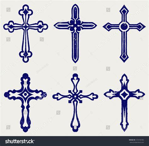 doodle religion religious cross design collection doodle style stock