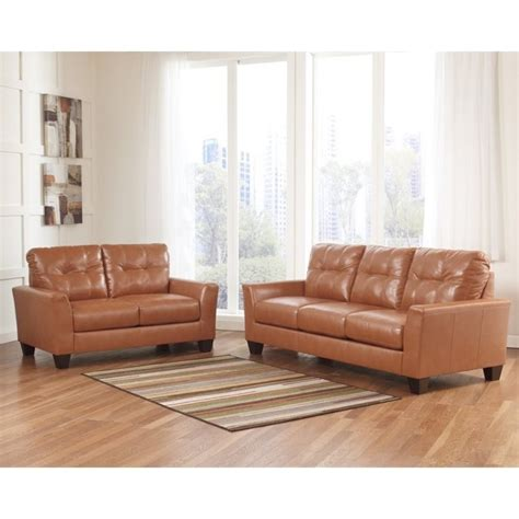 Orange Leather Sofa Set Paulie 2 Leather Sofa Set In Orange 27002 38 35 Pkg