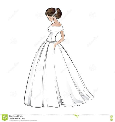 braut zeichnung sketch of young bride model in wedding dress stock vector
